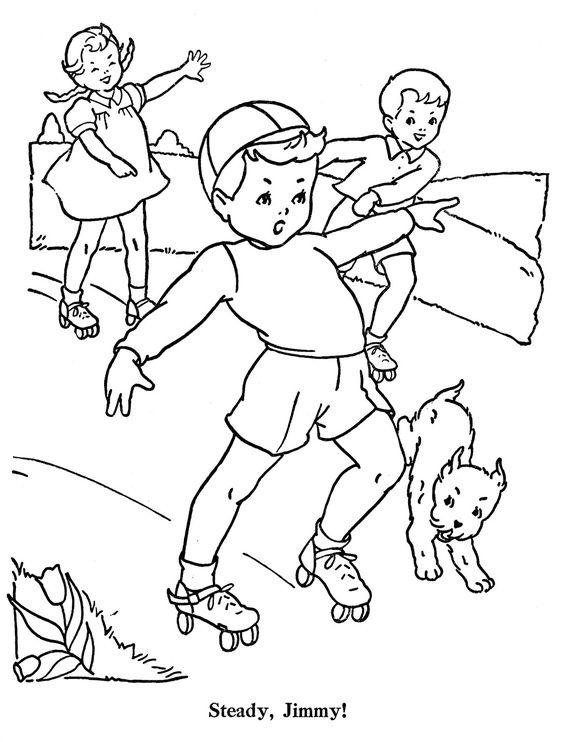 Tranh tô màu thiếu nhi chơi trượt patin