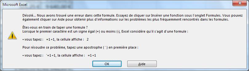 Excel - Message erreur formule incompréhensible
