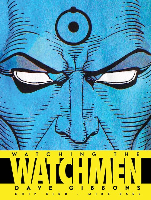 Dr. Manhattan's blue face with white, pupil-less eyes with symbolic Hydrogen atom on forehead, image cut off below the nose, and 'Watching the Watchmen' below