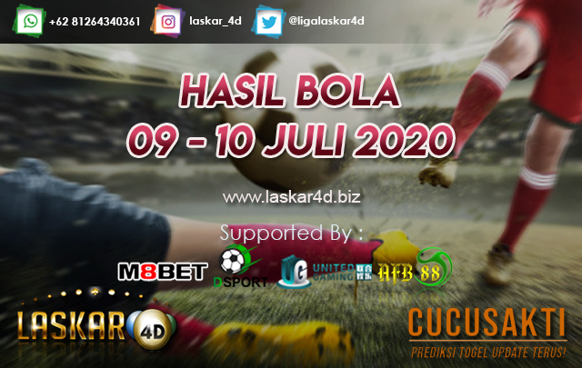 HASIL BOLA JITU TANGGAL 09 - 10 JULI 2020