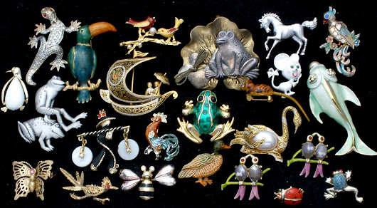 Vintage Lot of 24 Figural Brooches Pins with Rhinestones & Enamel