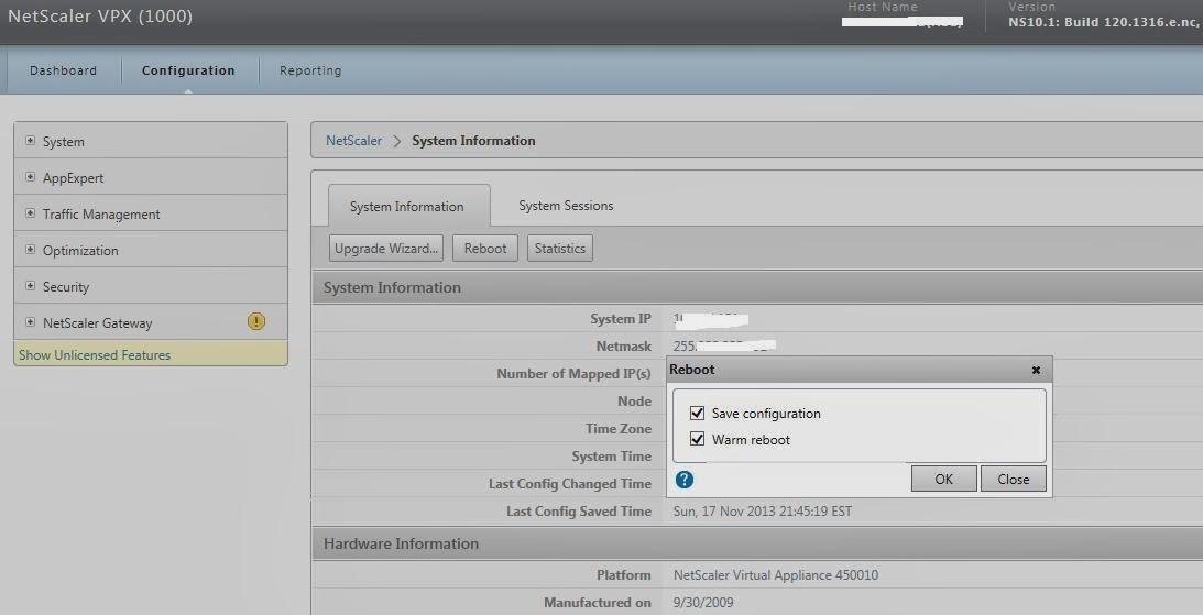 Netscaler VPX/ appliance Reboot