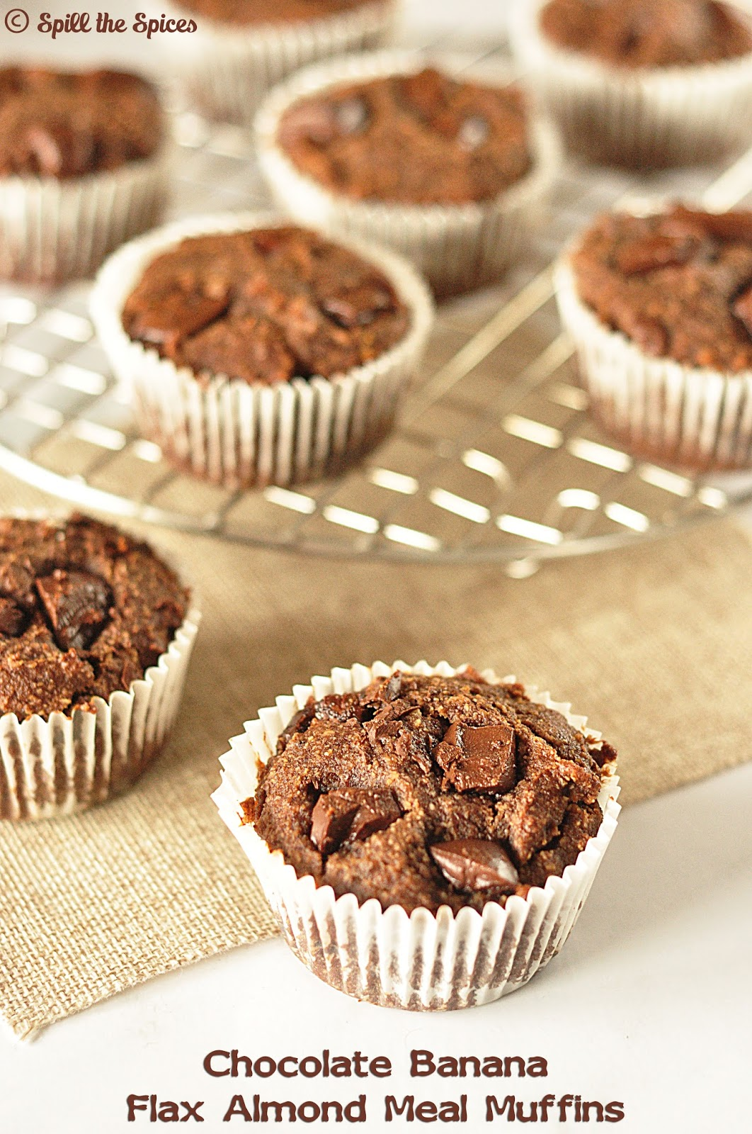 Chocolate Banana Flax Almond Meal Muffins #BreadBakers | Spill the ...