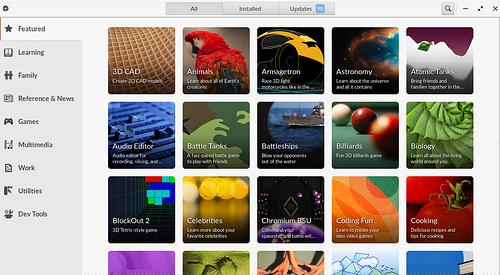 EndlessOS - Novo visual da Central de Apps