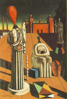 Another of De Chirico's classics of the  scuola metafisica, The Disquieting Muse