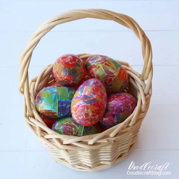 Flower covered plastic easter eggs with mod podge and tissue paper