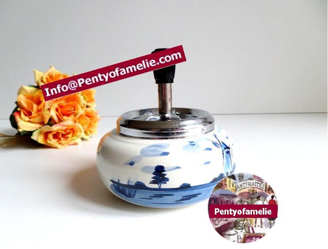 Unique Delft Push Button ashtray with chrome top.Blue White Holland Typical landscape windmill floral scene in porcelain and numbered.