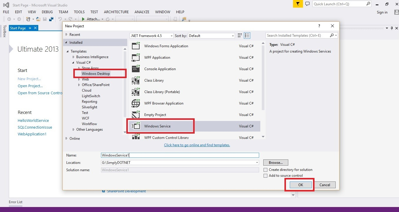 """... templates options; Select """"Windows Service""""; Enter """"Project Name"""" and  """"Location"""" as shown below"""