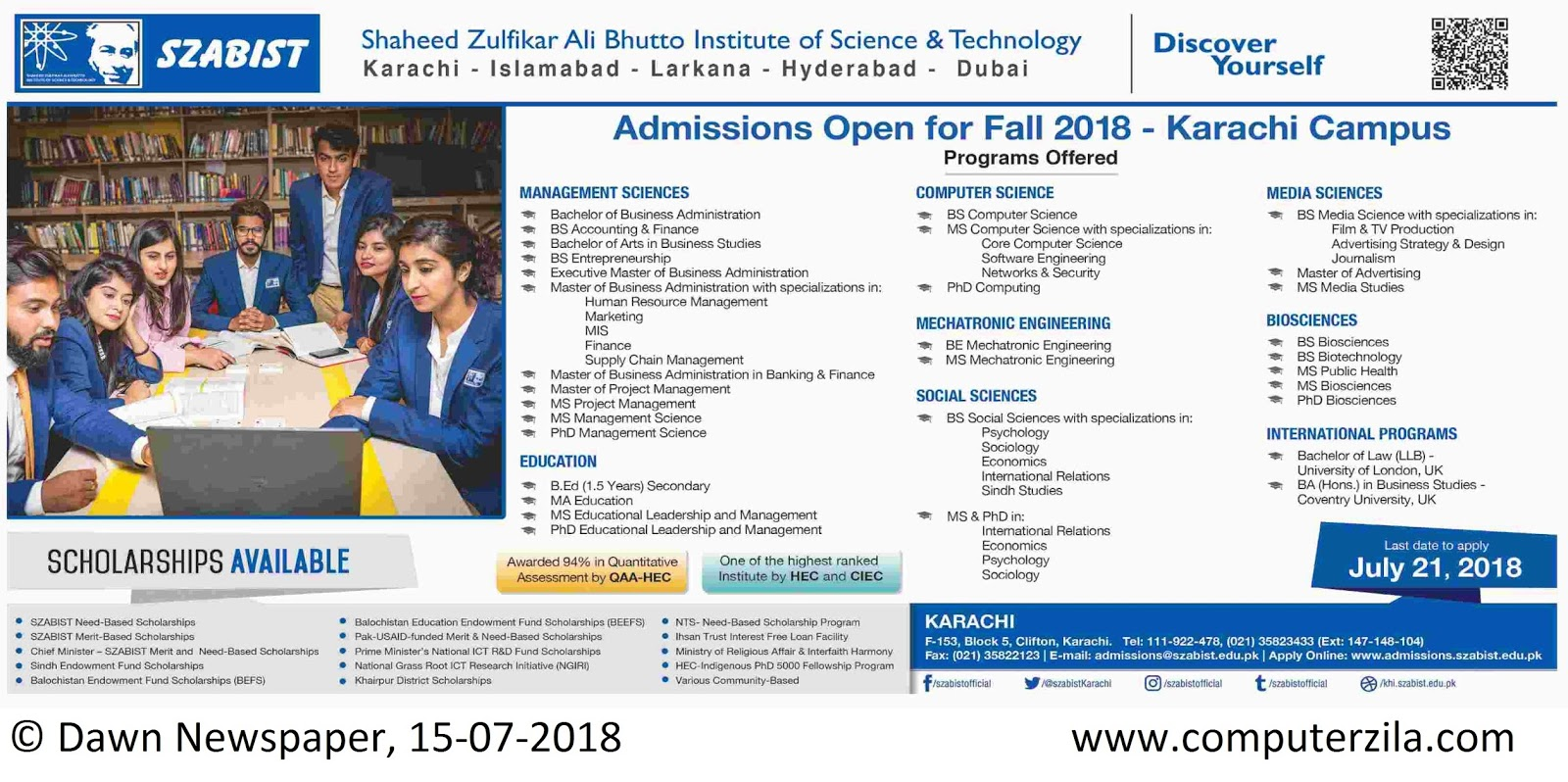 Shaheed Zulfikar Ali Bhutto Institute of Science & Technology Admissions Fall 2018