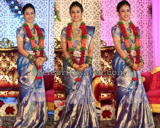 Bride in Blue Wedding Saree