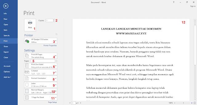 Cara Mencetak Lembar Dokumen Microsoft Word