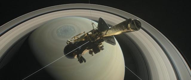 Đồ họa mô phỏng tàu Cassini bên trên Sao Thổ. Đồ họa: NASA/JPL-Caltech.