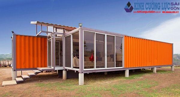 Thiết kế nhà container đẹp bằng kính cường lực