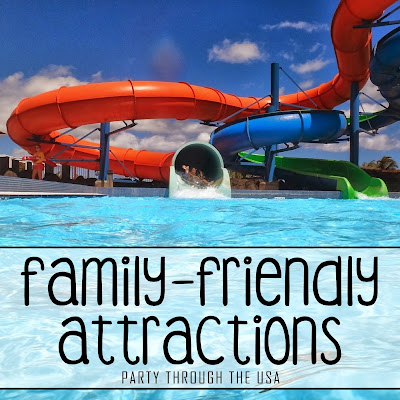 """Picture of wate park slide with text overlay saying, """"Family-Friendly Attractions."""""""