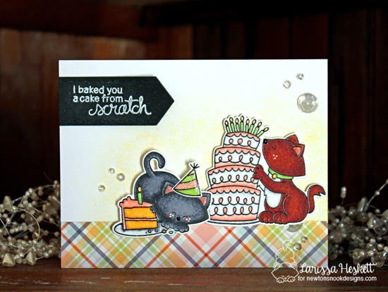 A Cake from Scratch Card by Larisssa Heskett | Newton Loves Cake Stamp set by Newton's Nook Designs #newtonsnook