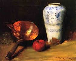 Magnificent still life with blue and white porcelain and kitchen objects by William Merritt Chase