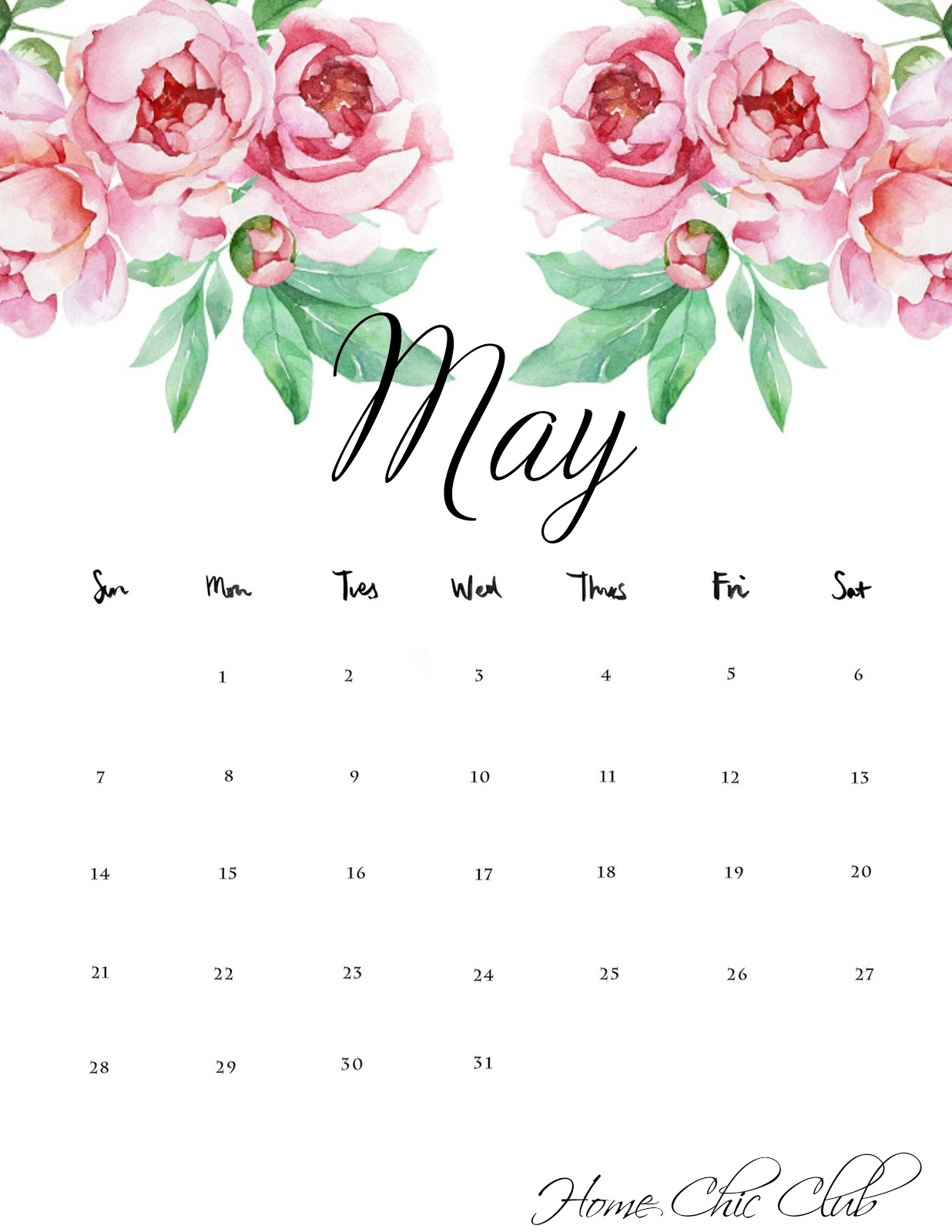 Marvelous A Free Printable May 2017 Calendar April Recap Home Chic Download Free Architecture Designs Scobabritishbridgeorg