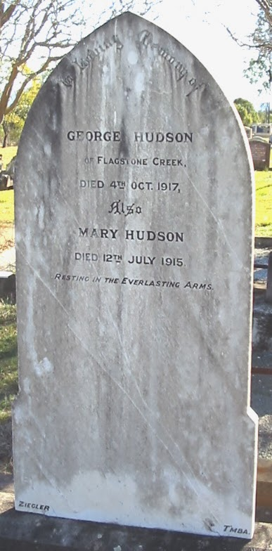 headstone of George and Mary Hudson