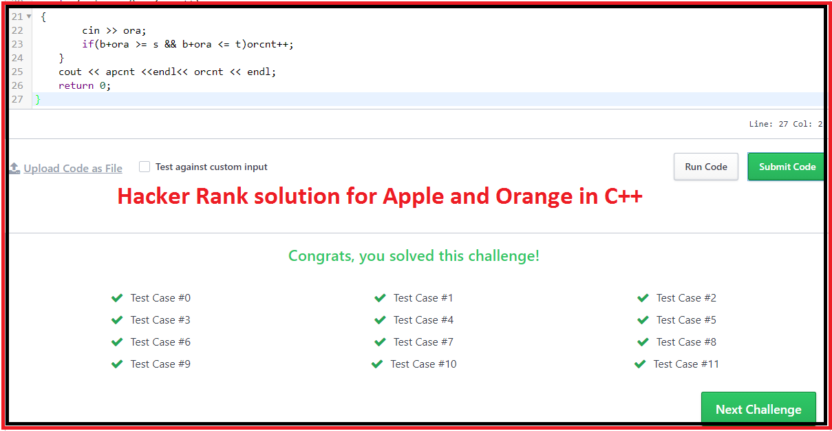 Hacker Rank solution for Apple and Orange in C++