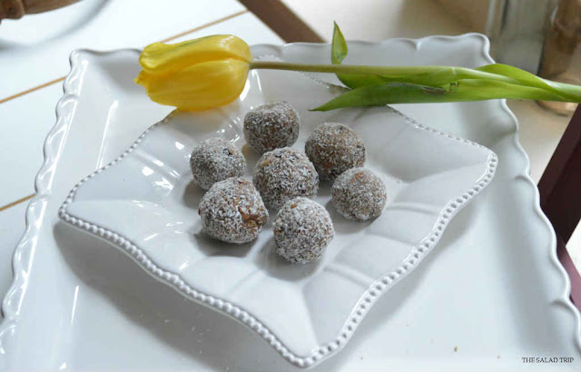 Coconut Chocolate Peanut Butter Protein Balls on a white plate with a yellow tulip next to them.