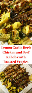 Lemon Garlic Herb Chicken and Beef Kabobs with Roasted Veggies - The BEST basting sauce ever! - Slice of Southern