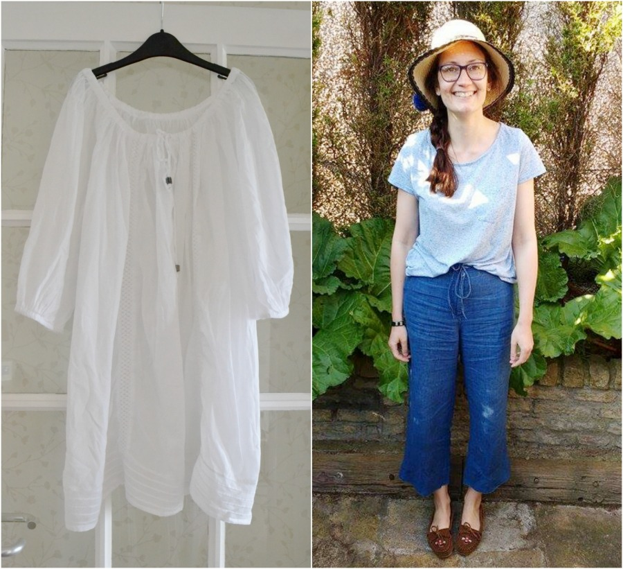 new summer clothes charity shop finds white smock tunic top f&f wide leg cropped trousers east buyers archive