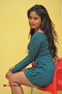Telugu Actress Prasanthi Stills in Green Short Dress at Swachh Hyderabad Cricket Press Meet  0070.JPG