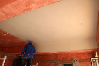 Sally flies through the plastering