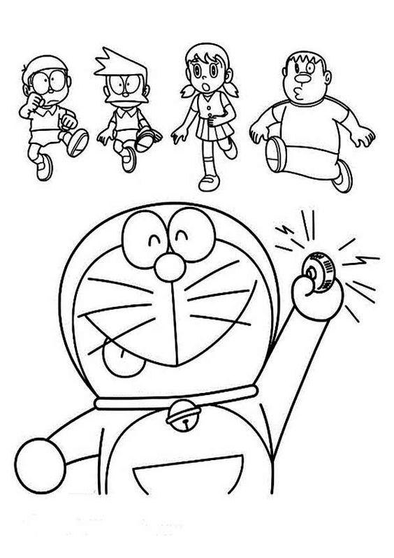 Tranh cho bé tô màu Doraemon truy tìm báu vật