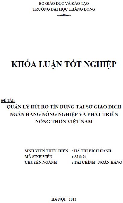 Quản lý rủi ro tín dụng tại Sở giao dịch Ngân hàng Nông nghiệp và Phát triển Nông thôn Việt Nam