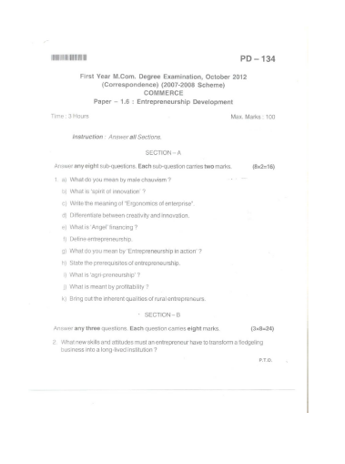 Bangalore University First Year M.Com Examination