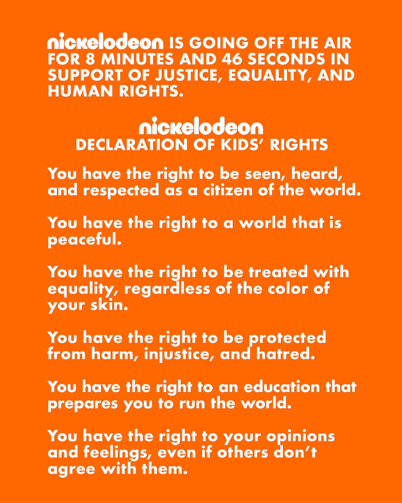 Nickelodeon Code : nickelodeon, NickALive!:, Nickelodeon, Off-Air, Minutes, Seconds, Support, Justice,, Equality,, Human, Rights