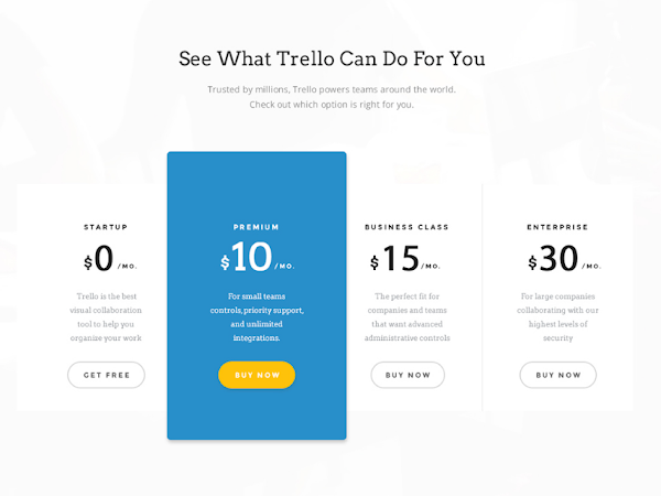 Download Trello Plans and Pricing PSD Free
