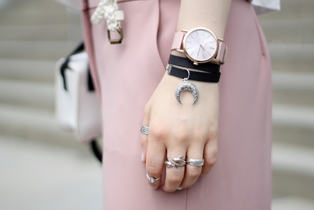 dusky pink watch and boho jewelry