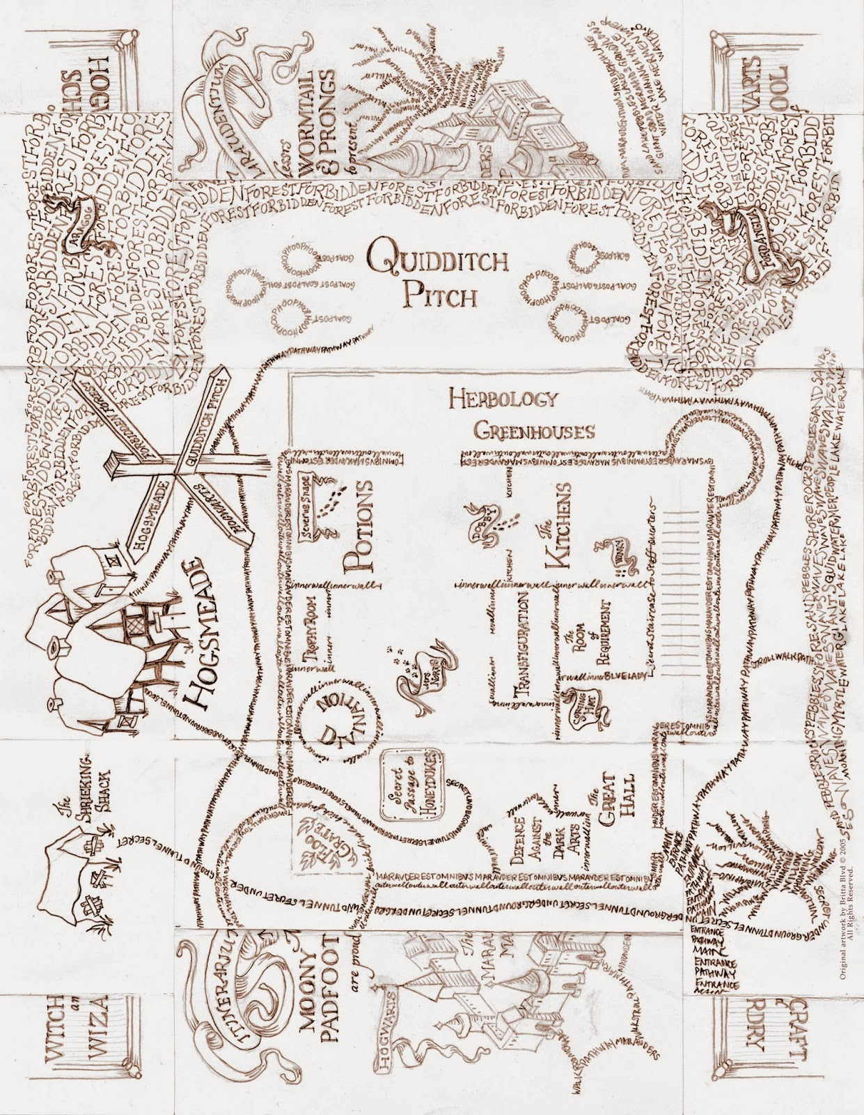 The Marauder's map by HeartsxxEmma on DeviantArt |Marauders Map Drawing