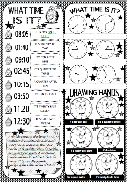 The English Cubby: Telling the time worksheets
