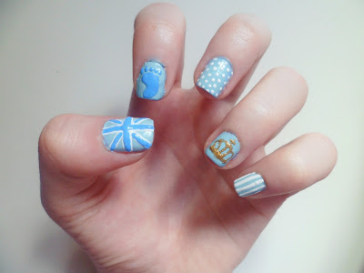 An image of nail art inspired by the birth of the royal baby