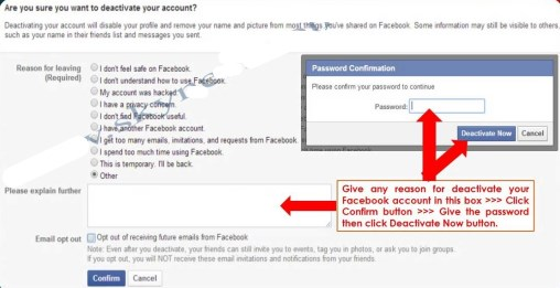 delete facebook account by link