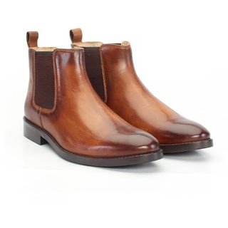 BRUNE TAN 100% GENUINE LEATHER CHELSEA BOOTS FOR MEN WITH BURNISHED EFFECT