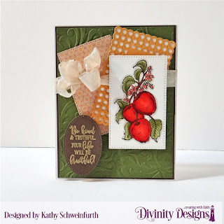 Divinity Designs Stamp Set; Apply Branch, Custom Dies: Pierced Ovals, Pierced Rectangles, Circle Scalloped Rectangles, Embossing Folder, Flourishes, Paper Collection: Cozy Quilt