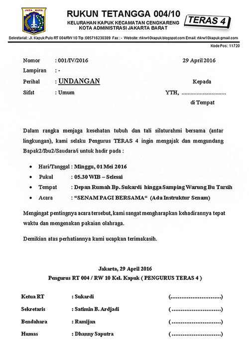 Contoh Surat Undangan Silaturahmi Warga Suratmenyurat Net
