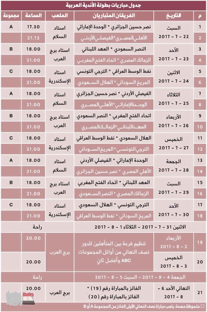 جدول مباريات البطولة العربية للأندية 2017