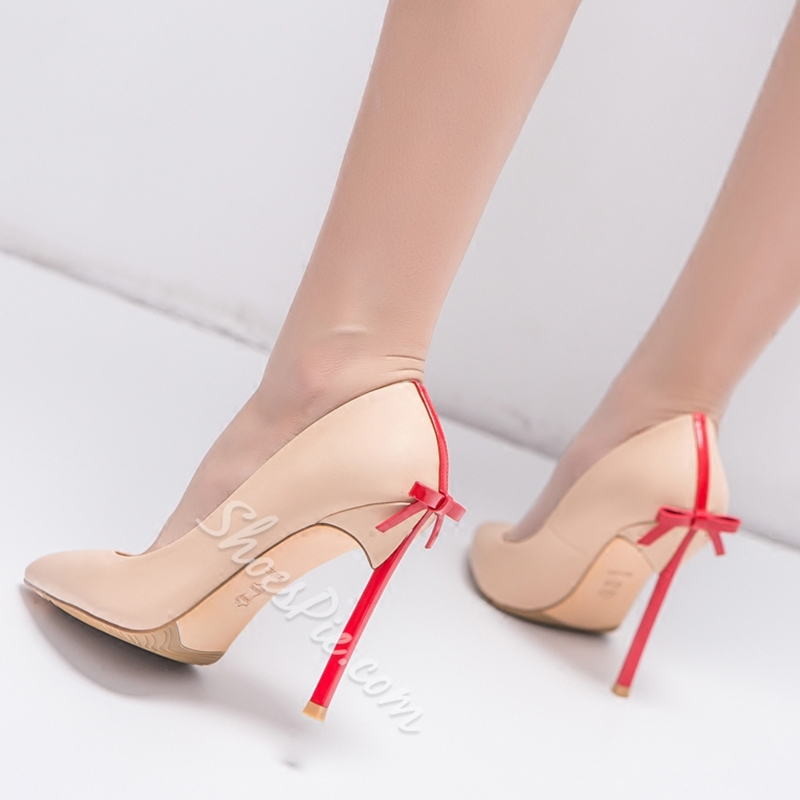 Shoespie Elegant Solid Bowtie Stiletto Heels