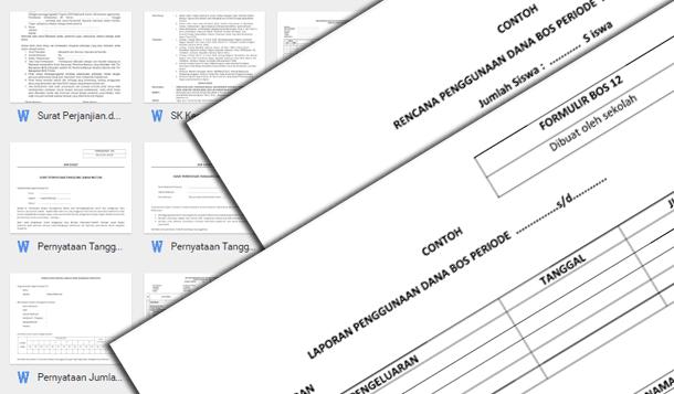 Contoh Berkas Lampiran Kelengkapan SPJ BOS Format Word dan Excel