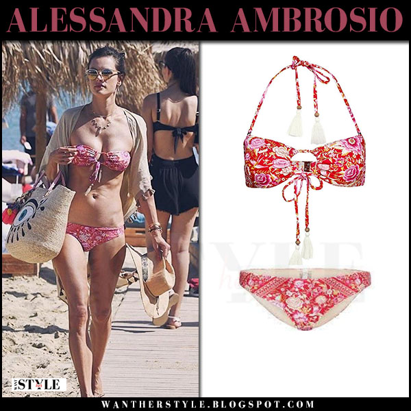 Alessandra Ambrosio in red floral print bikini spell babushka what she wore july 1 2017 vacation beach style