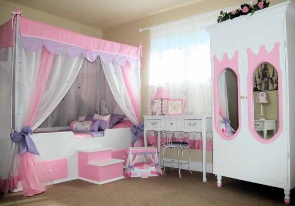 Princess bedroom design with carpet floor.