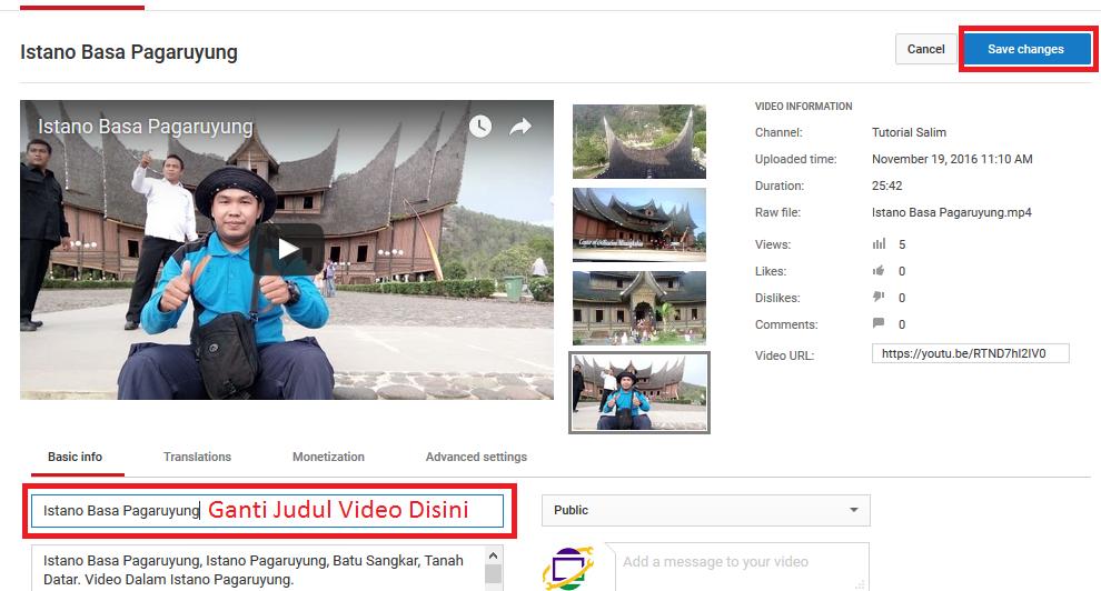 Menganti Judul Video Yang Telah di Upload Ke Youtube