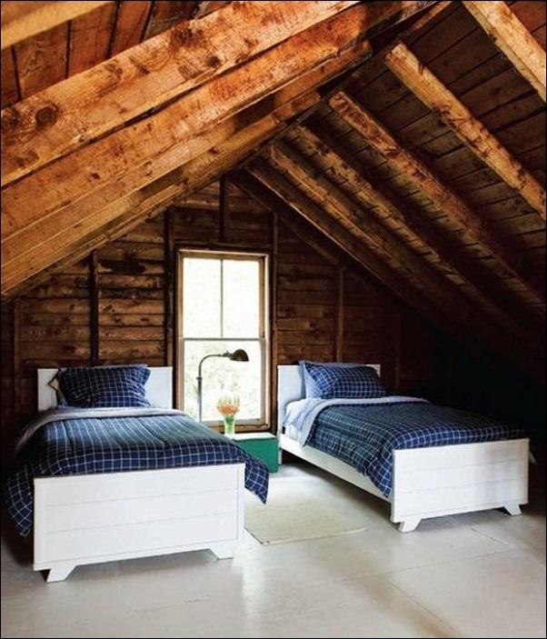quarto superior do chale de madeira