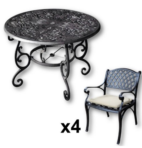Lazy Susan Furniture - Flora 103 cm Round 4 Seater Cast Aluminium Garden Set