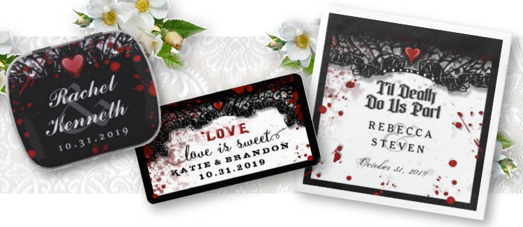bloody Halloween wedding black & white matching labels, candy tins and thank you tags